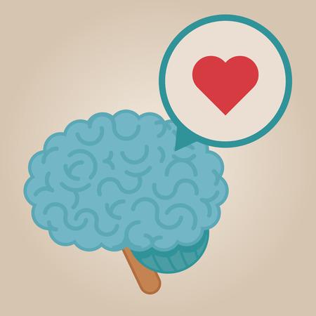 brain illustration: Brain concept illustration: love