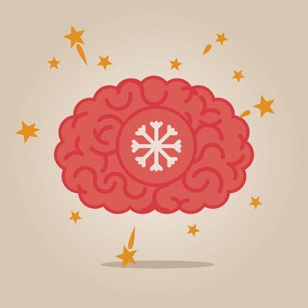 brain illustration: Brain concept illustration: snow