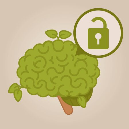 unlocked: eco friendly brain: unlocked brain Illustration