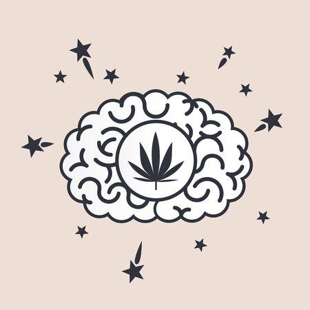 marihuana: Brain concept illustration: marihuana