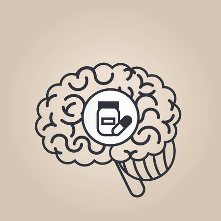 substance abuse: Brain concept illustration: pills
