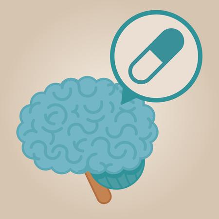 brain illustration: Brain concept illustration: pills