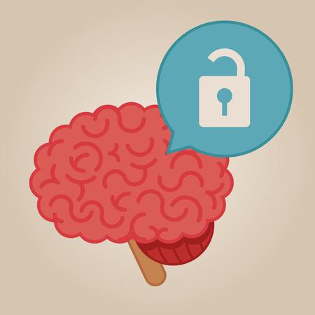 unlocked: Brain concept illustration: unlocked brain