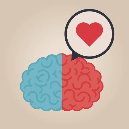 heart intelligence: Left & right human brain illustration: love Illustration