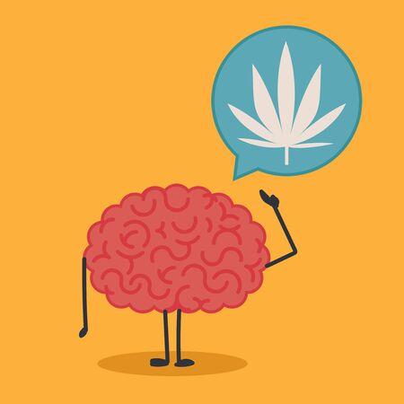 marihuana: Brain character with a bubble chat: marihuana