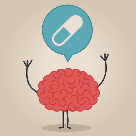 substance abuse: Brain character with a bubble chat: pills