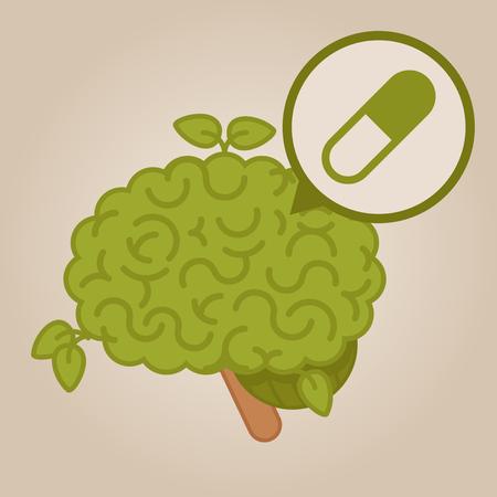 substance abuse: eco friendly brain: pills Illustration
