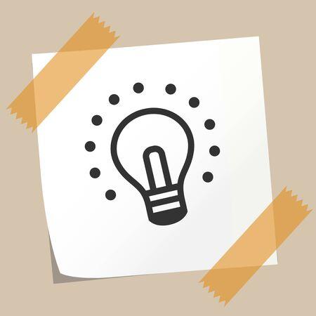 sticky note: sticky note with light bulb