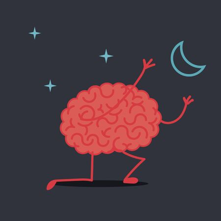 Brain character catching the moon
