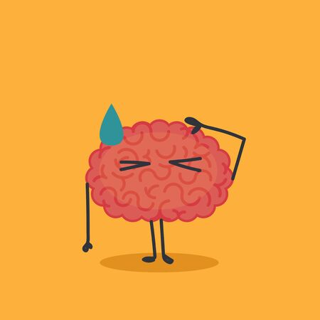 Brain character: sun blinded Illustration