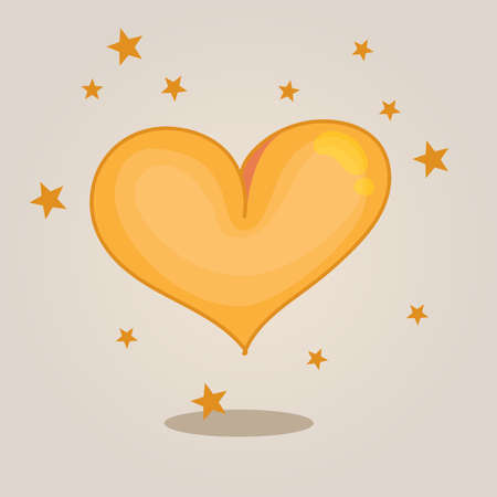 golden heart: Golden heart with stars Illustration