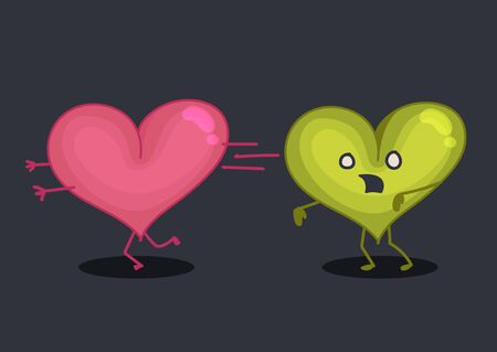 haloween: A Zombie heart chasing a heart Illustration