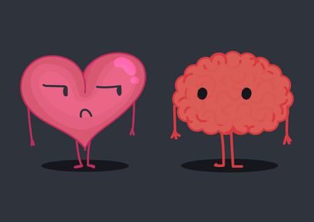 harassment: Brain & heart characters: harassment Illustration