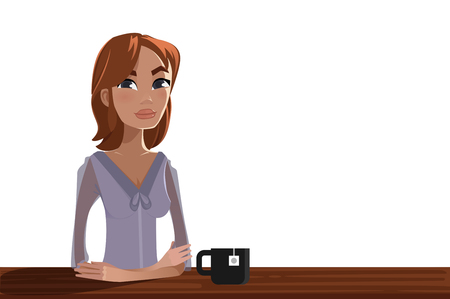 informal: Woman with a cup of tea Illustration