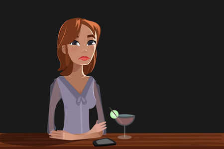 alone in the dark: Lonely Woman with a cocktail Illustration