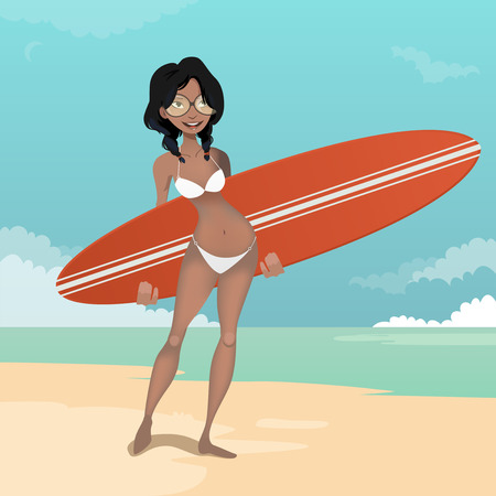 surfing board: Girl with a surfing board