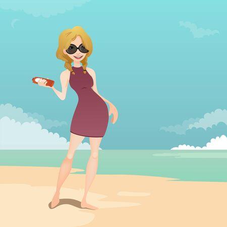 sun cream: Girl in the beach with sun cream