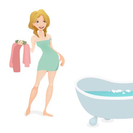hot woman: woman having a bath