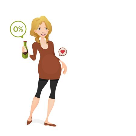 softdrink: pregnant woman with a non alcoholic beer Illustration