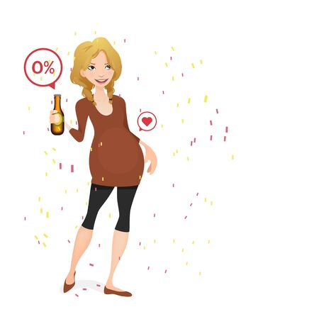 non alcoholic beer: pregnant woman with a non alcoholic beer Illustration