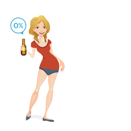 botle: girl holding a non alcoholic beer