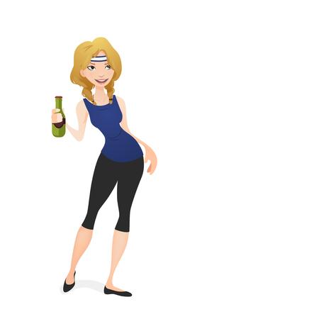 botle: girl holding a beer Illustration
