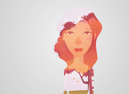 multiple exposure: Double exposure girl: Tree concept Illustration
