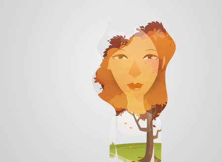 exposure: Double exposure girl: Tree concept Illustration