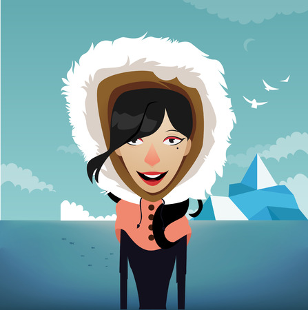 one girl only: Beautiful girl in winter