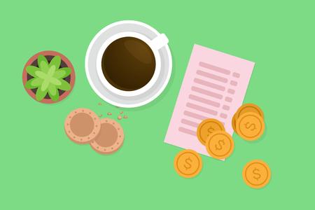 restaurant bill: Paying breakfast vector illustration Illustration