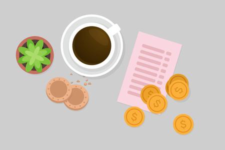 lay: Paying breakfast vector illustration Illustration