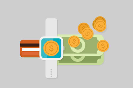 wallet: Smartwatch payment vector illustration