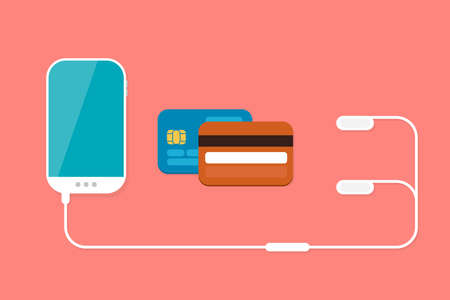 lay: Mobile Payment: Flat lay vector illustration