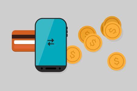 Mobile Payment: Flat lay illustration Illustration