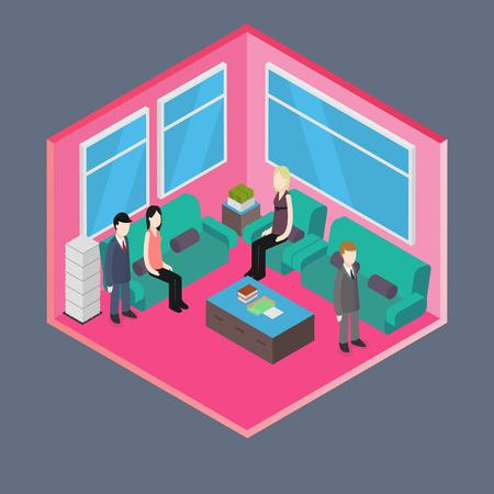 waiting room: Isometric Office: Waiting room Illustration
