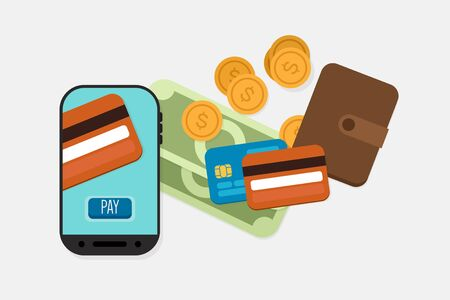 Mobile Payment: Flat lay illustration