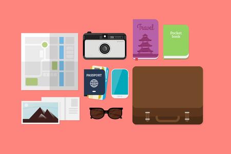 lay: Flat Lay Travel illustration
