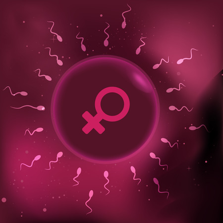 conjugation: illustration of sperm and egg cell.