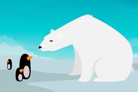vs: Polar bear vs Penguins illustration