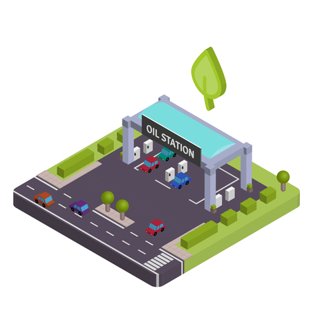 filling station: Isometric Gas station vewctor illustration Illustration