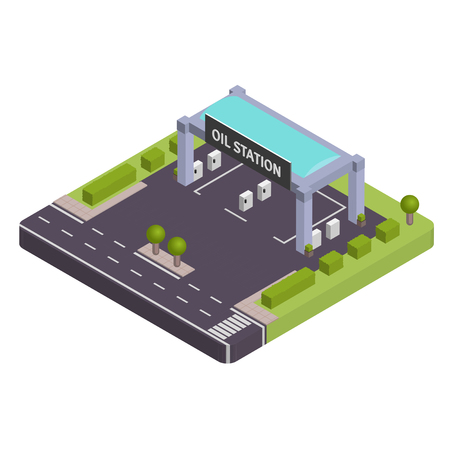 oil and gas industry: Isometric Gas station vewctor illustration Illustration