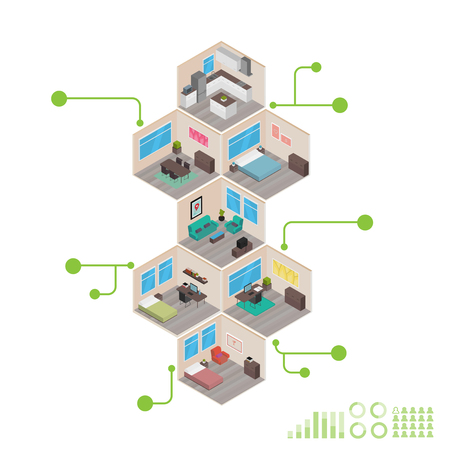 living room wall: Isometric house rooms: Infographics
