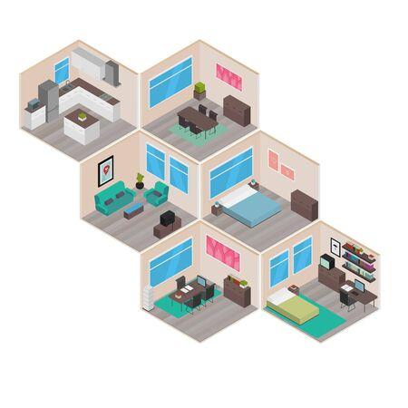 investment real state: Salas de casa isométricas: Juego de casa Vectores