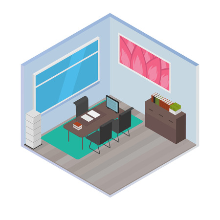 living room wall: Vector isometric house room