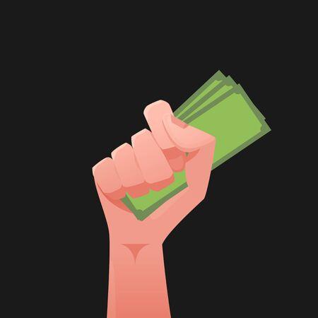 Hand & money illustration