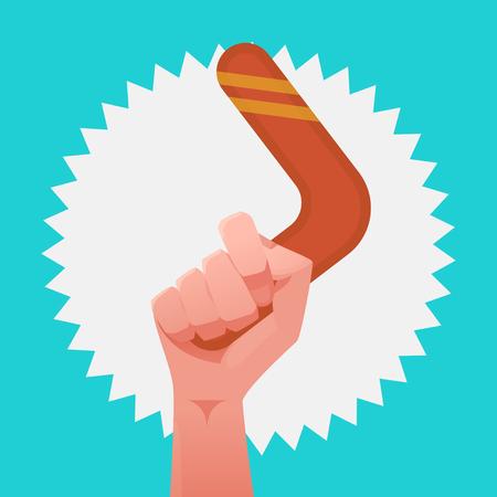 Hand & boomerang vector illustration Illustration