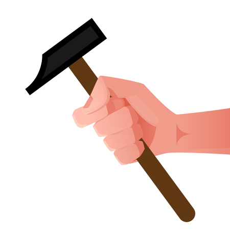 Hand holding a hammer concept