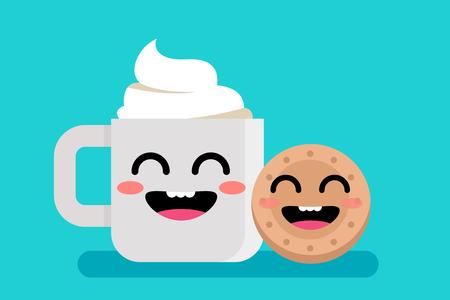 cute  breakfast mug Illustration