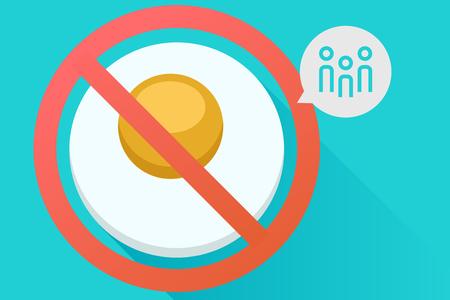 Banned Social egg concept illustration.