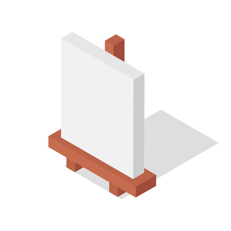 Isometric easel vector illustration: Blanc canvas